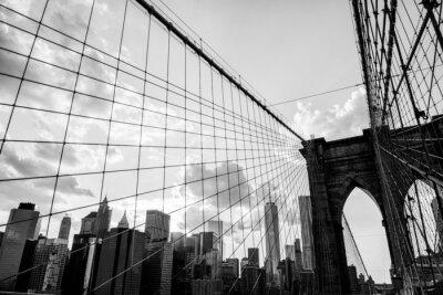 Obraz Nowy Jork, Brooklyn Bridge panorama czerni i bieli