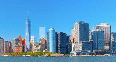 Obraz Nowy Jork budynków w dzielnicy ulicy dolnym Manhattanie panoramę na ścianie finansowe piękny letni dzień z nieba