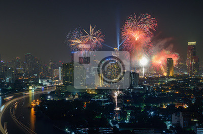 Nowy Rok Fajerwerki, Bangkok, Tajlandia