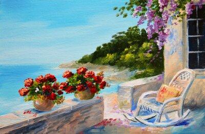 Obraz Obraz olejny - balkon blisko morza
