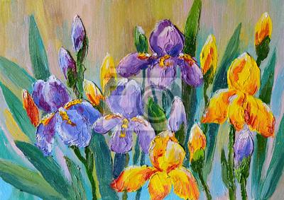 Obraz olejny - bukiet kwiatów irysów