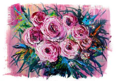 Obraz Obraz olejny bukiet róż. Styl impresjonistyczny.