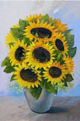 Obraz Obraz olejny - bukiet słoneczników w wazonie na tle abstrakcyjnych, piękne kwiaty