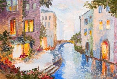 Obraz olejny - Canal Grande w Wenecji, Włochy, nowoczesny impresjonizm, kol
