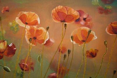 Obraz Obraz olejny czerwone kwiaty maku. Wiosna kwiatów charakter tła