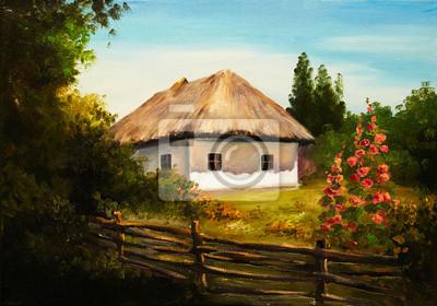 Obraz olejny - dom w lesie