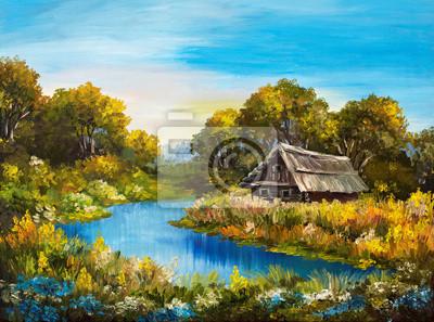 Obraz olejny - dom w pobliżu rzeki