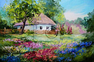 Obraz olejny - Dom we wsi