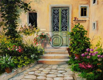 Obraz olejny - dom z patio