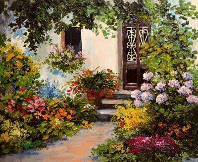 Obraz obraz olejny - dom z patio, kolorowe akwarela