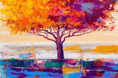 Obraz Obraz olejny drzewa, tło artystyczne
