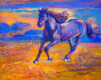 Obraz Obraz olejny działającego konia. Sztuka współczesna