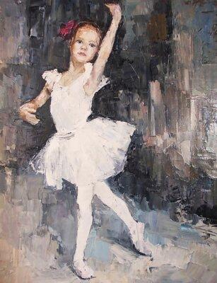 Obraz obraz olejny, dziewczyna baleriny. rysowane słodkie baleriny taniec