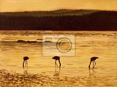 Obraz Obraz olejny - flamingi w gór, morza i słońca