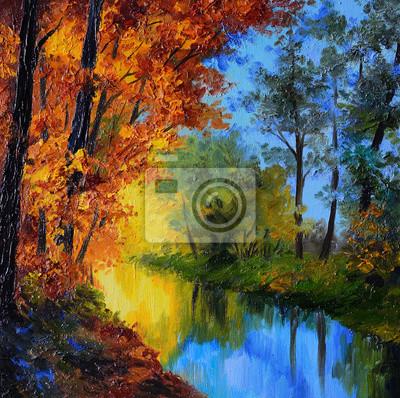 Obraz Obraz olejny - jesień las z rzeką