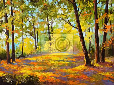Obraz olejny - Jesień w lesie