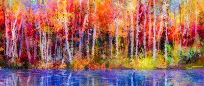 Obraz Obraz olejny kolorowe jesienne drzewa. Semi abstrakcyjny obraz lasu, osika drzew z żółto - czerwony liść i jeziora. Jesień, jesień sezon tle przyrody. Ręcznie malowane impresjonizmu, otwarty krajobraz