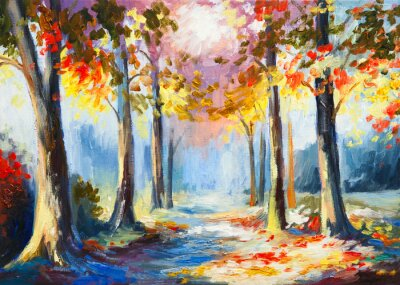 obraz olejny - kolorowe wiosny krajobraz, droga w lesie, ab