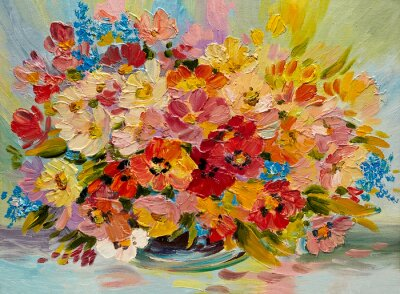 Obraz Obraz olejny - kolorowy bukiet kwiatów letnich na abstrakcyjnym tle