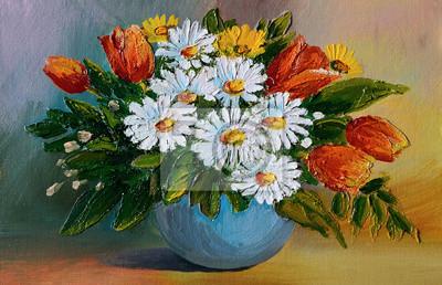 Obraz olejny - kolorowy bukiet z żółtych i niebieskich kwiatów