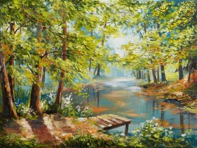Obraz Obraz olejny krajobraz - jesień las w pobliżu rzeki, pomarańczowe liście
