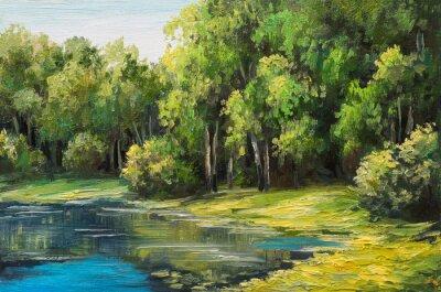 Obraz Obraz olejny krajobraz - jezioro w lesie, letni dzień