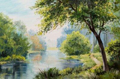 Obraz Obraz olejny krajobraz - kolorowe lasu