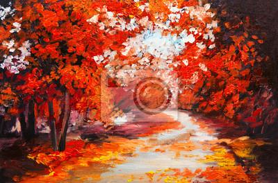 Obraz olejny krajobraz - las jesienią kolorowe