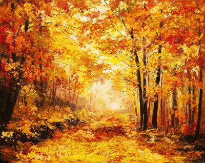 Obraz Obraz olejny krajobraz - las jesienią kolorowe