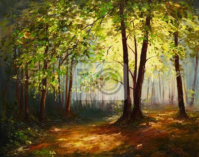 Obraz olejny krajobraz - las lato, kolorowe abstrakcyjne sztuki