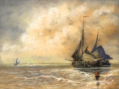 Obraz Obraz olejny krajobraz, morze, statki, łódź