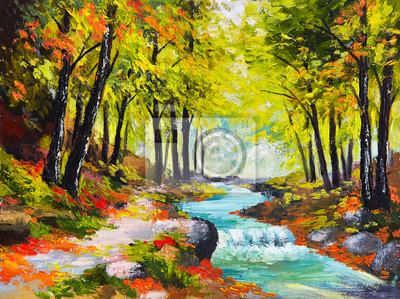 Obraz obraz olejny krajobraz - rzeka w lesie jesienią
