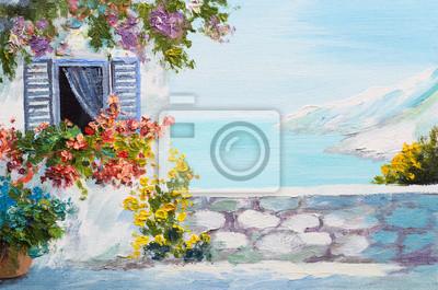 Obraz olejny krajobraz - taras blisko morza, kwiaty