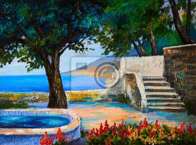Obraz Obraz olejny krajobraz - taras blisko morza, kwiaty