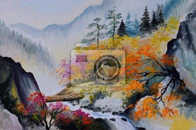 Obraz olejny - krajobraz w górach, dom w górach