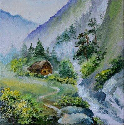 obraz olejny - krajobraz w górach, dom w górach an