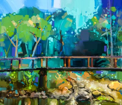 Obraz Obraz olejny krajobraz z drewnianym mostem nad creek w lesie. Ręcznie malowane Kolorowe lato natura las z żółty i zielony kolor niebieski