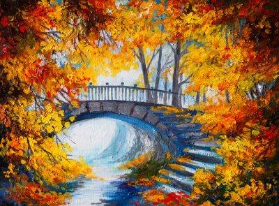 Obraz olejny - las jesienią z drogi i mostu na roa
