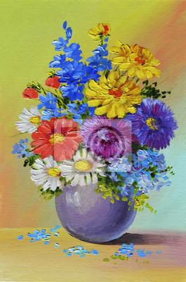 Obraz olejny - martwa natura, bukiet kwiatów