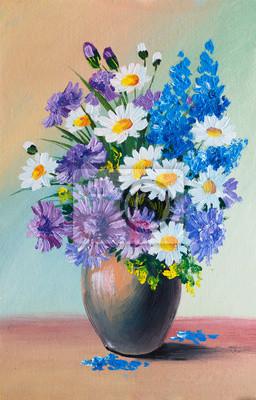 Obraz Obraz olejny - martwa natura, bukiet kwiatów