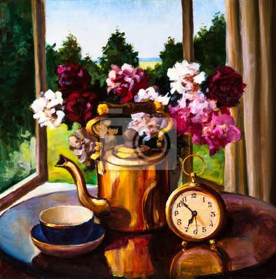 Obraz olejny - martwa natura, bukiet kwiatów, zegar i Kettl