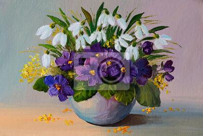 Obraz olejny - martwa natura, kwiaty, bukiet kwiatów