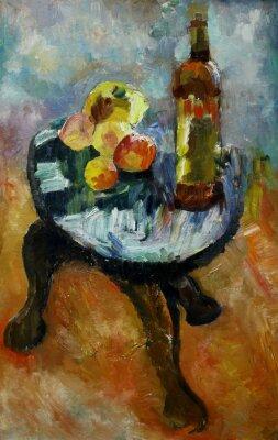 Obraz Obraz olejny martwa natura z jabłkiem na krześle i brzoskwiń w stylu impresjonizmu w jasnych kolorach na płótnie