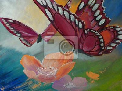 Obraz olejny na canvas- Motyl na kwiaty, dzieła sztuki