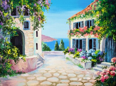 Obraz olejny na płótnie - domu w pobliżu morza