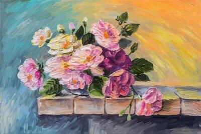 Obraz Obraz olejny na płótnie - martwa natura kwiaty na stole