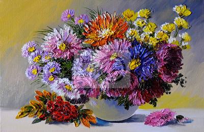 Obraz Obraz olejny na płótnie - martwa natura kwiaty na stole, sztuka wo