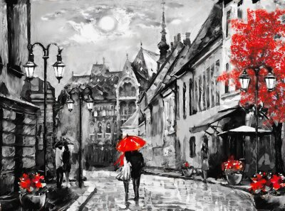 Obraz Obraz olejny na płótnie miasto europejskie. Węgry. Widok ulicy Budapesztu. Praca plastyczna. Ludzie pod czerwonym parasolem. Drzewo. Nigrht i księżyc.
