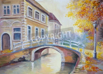 Obraz Obraz olejny na płótnie - most na rzece w starej Europie, włoskiego miasta