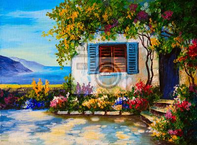 Obraz Obraz olejny na płótnie o pięknych domów w pobliżu morza, abstr